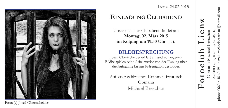 Fotoclub Lienz Clubabend mit Josef Obertscheider